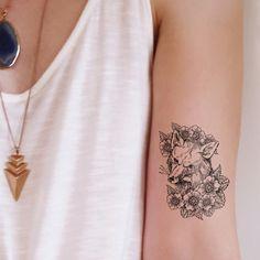 Small vintage style fox temporary tattoo