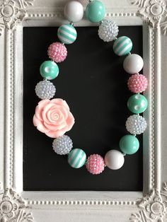 Mint green and light pink bubblegum necklace by LilchicboutiqueLIC on Etsy