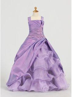 A-Line/Princess Square Neckline Floor-Length Taffeta Organza Flower Girl Dress With Lace Beading Sequins Cascading Ruffles (010005784) - JJs...