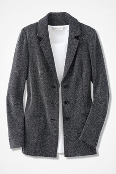 Stretch Tweed Knit Jacket - Coldwater Creek out of xl waiting and hoping