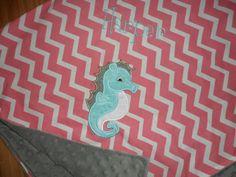 Seahorse  Custom Monogrammed Seahorse Minky Baby by peepsboutique, $29.50