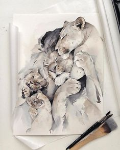 🎨 Watercoloris Watercolor Illustration, Watercolor Paintings, Lion Art, Jolie Photo, Lion Tattoo, Animal Design, Animal Paintings, Cute Art, Creative Art