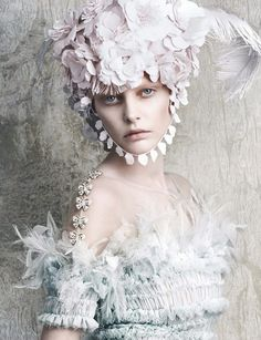 LES LIAISONS DE MARIE ANTOINETE | Chanel Haute Couture SS 2014 photographed by photographers Daniele & Lango + Luigi for the April 2014 issue of Vogue Germany. Head piece by Patti Wilson.