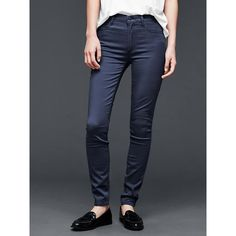 Gap Women 1969 Sateen High Rise True Skinny Jeans ($70) ❤ liked on Polyvore featuring jeans, navy, tall, denim skinny jeans, super skinny jeans, navy blue skinny jeans, stretchy skinny jeans y petite jeans