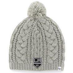 24666897848 Women s Los Angeles Kings  47 Brand Gray Kiowa Pom Knit Hat Kings Hockey