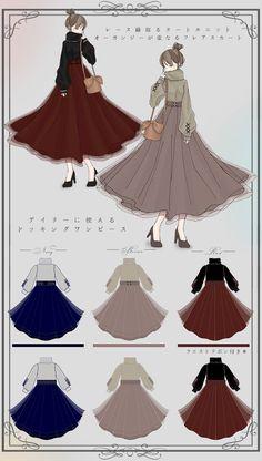 Kpop Fashion Outfits, Anime Outfits, Fashion Dresses, Dress Design Sketches, Fashion Design Drawings, Cute Girl Sketch, Vintage Fashion Sketches, School Uniform Outfits, Kawaii Dress