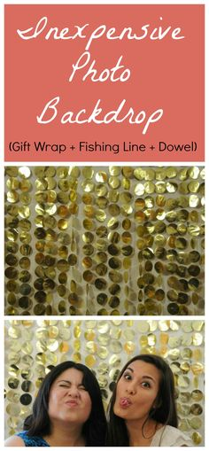 Inexpensive Photo Backdrop - Cut gift wrap into circles, glue to fishing line, attach fishing line to dowel.