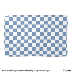 Checkered Blue/Gray and White Towels