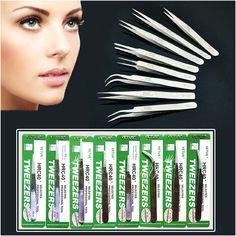 Individual Eyelash Extension Tweezers Stainless Mink Volume Eyelashes Lashes Tweezer Vetus Lash Pincet Makeup Pinzas Cejas Tools >>> Podrobnuyu informatsiyu mozhno nayti, nazhav na izobrazheniye.
