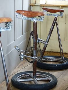 Upcycled Bike Bar Stools. Handmade and reclaimed from old vintage bicycle parts. Our Designer Crank Bar Stools are shown in lifestyle photos, commissioned orders at Smithers to suit your requirements. Processing time 6 weeks All handmade using recycled Engineering. See more of