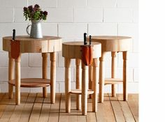 Round butcher block table by lostine prep station little place to sit