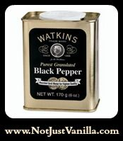 Black Pepper #01140 (170 g/6 oz.) The best of the world's most important spice. Watkins buys top-quality Malabar & Lampong peppercorns, carefully screens out fillers & stems, then granulates (not grind) them through our exclusive process, creating less friction & preserves their high essential oil content & flavor. Experience the Gold Medal-winning taste of the most flavorful pepper on the market. #Watkins #Watkins products www.NotJustVanilla.com or…