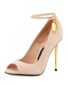 Suede Open-Toe Ankle-Lock Pump, Nude by Tom Ford at Neiman Marcus.1490.00