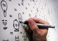 Home made wallpaper that you can add to over time - amazing!