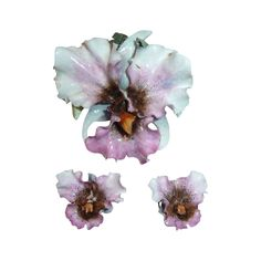 Royal Crown Derby Fine Porcelain Orchid Pin & Earrings Set from BeJewelled Exclusively on Ruby Lane