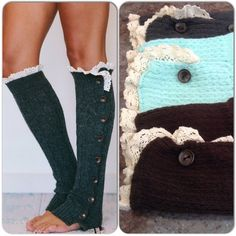 Knit Leg Warmers With Lace