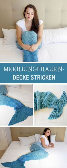 Strickanleitung für eine Meerjungfrauen-Decke / diy for a knitted mermaid blanket via DaWanda.com