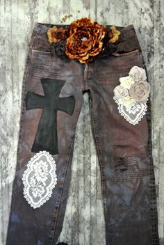 Womens distressed vintage jeans, country chic, gypsy cowgirl jeans, cottage chic, womens clothing, true rebel clothing. $84.00, via Etsy.