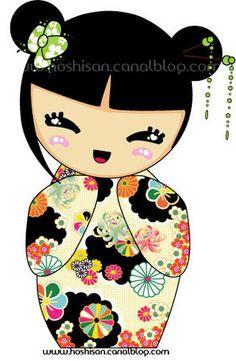 Kokeshi ~love the pattern Momiji Doll, Kokeshi Dolls, Matryoshka Doll, Paper Dolls, Art Dolls, Asian Quilts, World Thinking Day, Illustration, Coin Collecting