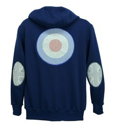 Men's zip hoodie with Union flag sleeve patches and large red, white and blue embroidered roundel on back.   Made to order in Nottingham. http://www.josery.com/collections/mens-hoodie/products/mens-zip-hoodie-with-british-union-flag-sleeve-patches-and-back-design