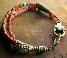 African Brass Bracelet with Trade Beads.