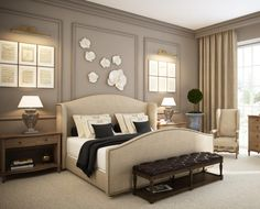 Charming Ideas For Beige And Black Bedroom Decoration For Your Inspiration : Contemporary Beige And Black Bedroom Decoration Using White Porcelain Flower Bedroom Wall Decor Including Tufted Dark Brown Leather Bedroom Bench And Studded Cream Fabric Headboard
