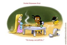 Pocket Princesses by Amy Mebberson  # 8- If Disney princesses lived together: Rapunzel, Tiana, and Snow White