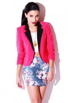 pink jacket and floral skirt