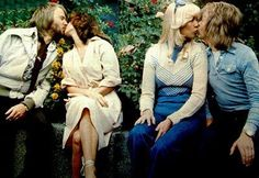 """The foursome relax at Gröna Lund, in Stockholm, during the time of their 1975 tour. """"People Need Love"""""""