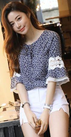 StyleOnme_Chiffon Lace Bell Sleeve Patterned Blouse #patterned #blouse #lace #feminine #koreanfashion #kstyle #kfashion #summertrend #dailylook
