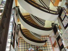 Rikhardinkadun Kirjasto/ Rikhardinkatu Library in Helsinki's curving staircase.