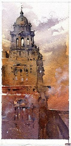 Glasgow City Chambers, watercolor by Iain Stewart.The colors are wonderful! I love that you can see the texture of the piece, which seems to hint at the actual texture of the building, like you can almost touch the walls. #watercolorarts