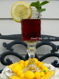 HILLBILLY CRYSTAL - SWEET TEA GOBLETS - Candlesticks from the Dollar Tree and Mason Jars. Easy and cute! In honor of Duck Dynasty on A - they use these sometimes at the supper table.