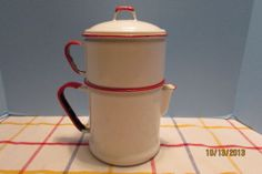 Vintage French style Red and White Enamel Coffee Pot Estate Find!