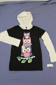 New Top Girls Size 4 Kids T Shirt Black Hoodie Long Sleeve Owl School Clothes | eBay