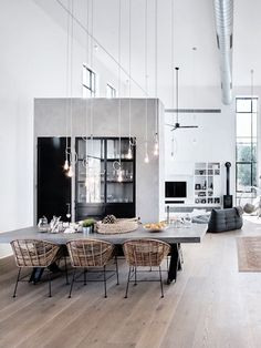 From the airy wicker chairs to the bare-bulb light fixtures, there's so much to love about the design of this space. We're particularly smitten with the way the concrete table functions as a bold, grounding centerpiece in the midst of so many delicate details. Read more at: https://nyde.co.uk/blog/springs-concrete-trend/