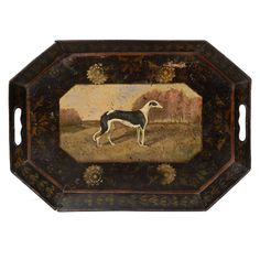 A 19th Century Painted Tole Tray With a Dog in a Landscape United Kingdom 19th century A 19th century English polychrome painted tole octagonal tray, the raised gallery with pierced handles centering a dog in a pastoral landscape surrounded by stylized flowers and vines