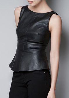 Black Falbala V-neck Sleeveless Wrap PU Leather Vest