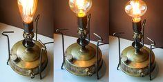 Steampunk Lamp | Handmade Steampunk Lighting | Industrial Table Lamp + Edison Bulb | Edison Lamp | Ancient Brass Primus | Camping Stove Lamp