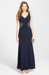 Joanna Chen New York Embellished Sheer Back Jersey Gown