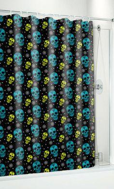 Sourpuss Sugar Ink Shower Curtain Candy Skulls Day of The Dead Tattoo Pinup Punk | eBay