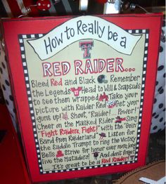 Get your guns up! Football #tailgate decor #TexasTech Canvas How to Really be a Red Raider!