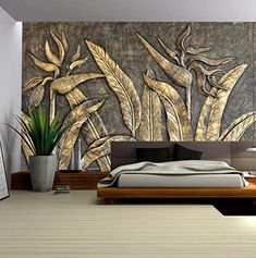 Custom Photo Wallpaper Mural Golden Bird Sculpture Flower Wall Background Wall Murals Wall Decor - ♥Custom made size: Tell us your width and height Order quantity==Square meters==Widthxheight Webs -