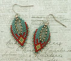 Linda's Crafty Inspirations: Russian Leaf Earrings - Blue & Red