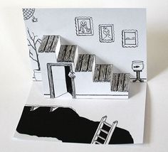Hand Drawn Spooky Staircase Pop Up Card - Arts and Crafts Kirigami, Playing Card Crafts, Arte Pop Up, Origami Templates, Box Templates, Pop Art, Paper Engineering, Diy Arts And Crafts, Foam Crafts