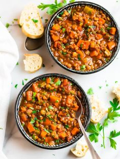 This easy Crockpot Lentil Soup is hearty, healthy, and so comforting! A satisfying vegetarian recipe made with lentils, carrots and tomato, slow cooked to perfection. Best Lentil Soup Recipe, Slow Cooker Lentil Soup, Lentil Sausage Soup, Healthy Slow Cooker, Lentil Recipes, Slow Cooker Recipes, Vegetarian Recipes, Healthy Recipes, Delicious Recipes