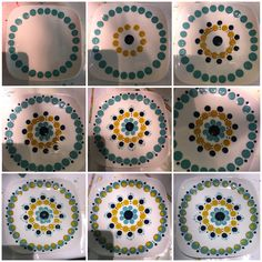 Pottery Painting Designs, Pottery Designs, Paint Designs, Mandala Rocks, Mandala Art, Dot Painting, Ceramic Painting, Doodle Background, Painted Plates