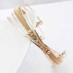 Woven Bracelet 14kt Gold Filled Bracelet Blue by sarahndippity