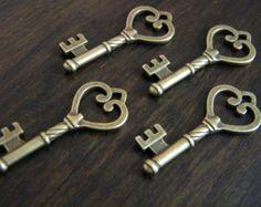 Old Celtic look new antique vintage skeleton keys 12 crafts 3 colors wedding