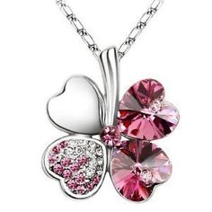 Swarovski Elements Pink Crystal Four Leaf Clover Love Heart Pendant Necklace '16 - 18 inch Chain by TEJ,     http://amzn.to/17N8v7o